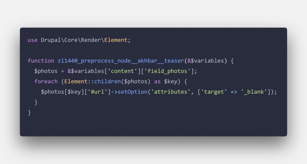 Usage of template_preprocess_node