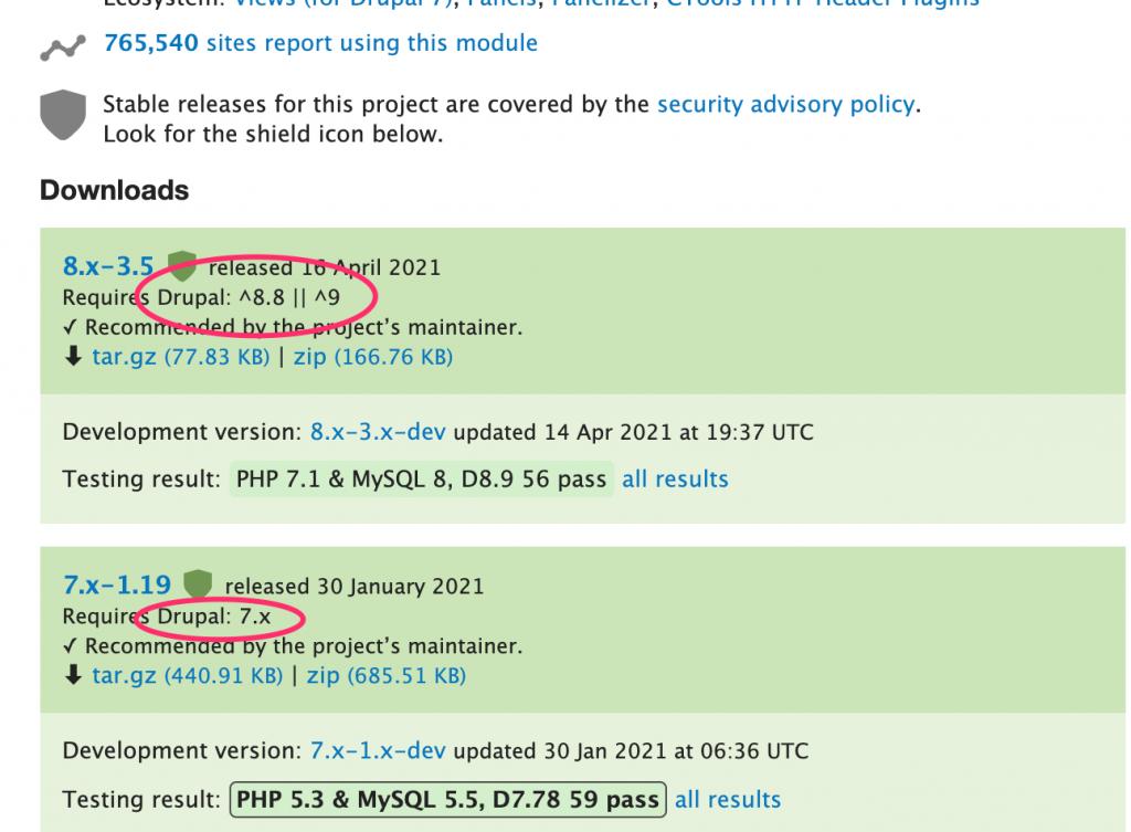 Screenshot of version information on Drupal.org